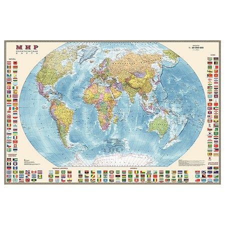 Карта мира политическая Ди Эм Би 1:30млн с флагами ОСН1234480