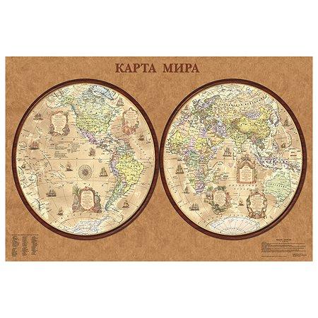 Карта полушарий политическая Ди Эм Би 1:34млн Ретро ОСН1234487