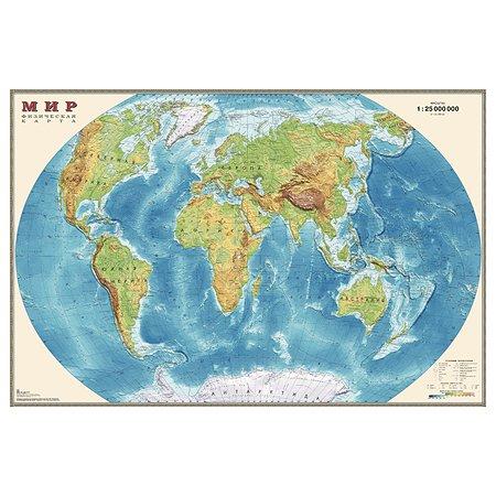 Карта мира физическая Ди Эм Би 1:25млн ОСН1234490