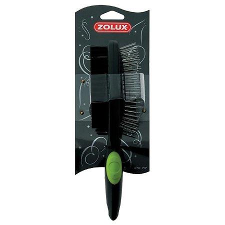 Щетка для собак Zolux двусторонняя средняя Черно-зеленая