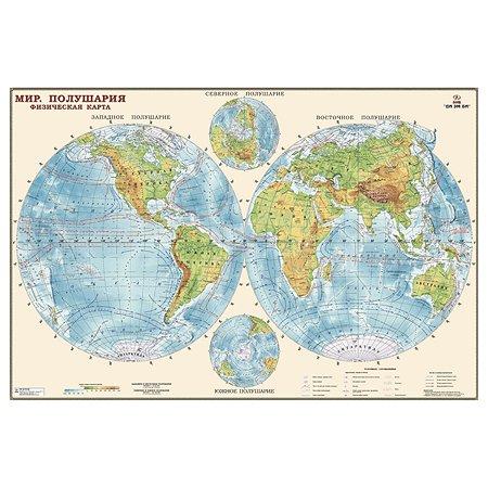 Карта полушарий физическая Ди Эм Би 1:34млн ОСН1234496