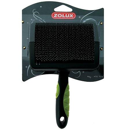 Щетка-пуходерка Zolux с гибкими щетинками пластиковая большая Черно-зеленая