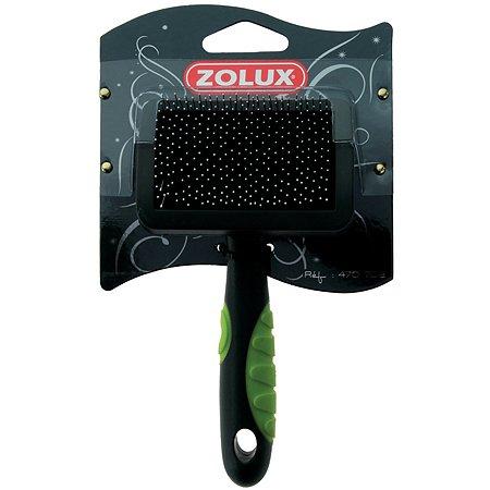 Щетка-пуходерка Zolux с гибкими щетинками пластиковая малая Черно-зеленая