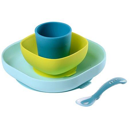Набор посуды BEABA 2тарелки с присоской стакан ложка с 4месяцев Голубой