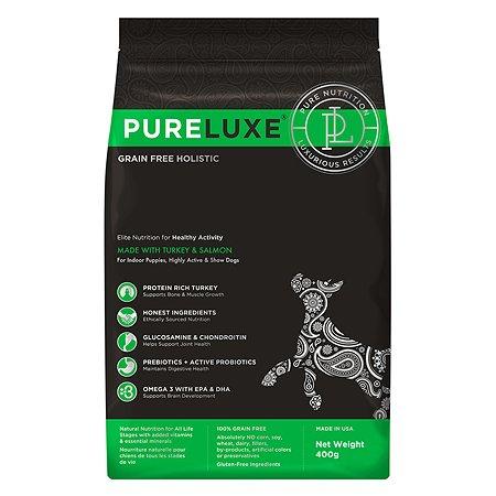 Корм для собак Pureluxe активных с индейкой и лососем 400г