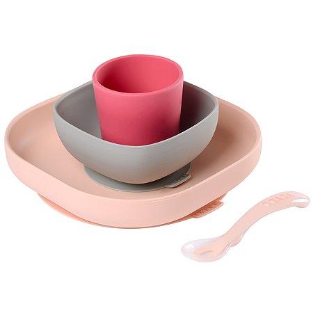 Набор посуды BEABA 2тарелки с присоской стакан ложка с 4месяцев Розовый