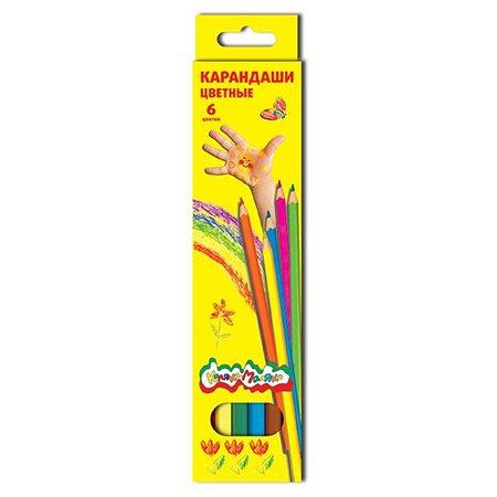 Цветные карандаши КАЛЯКА МАЛЯКА 6 цветов шестигранные