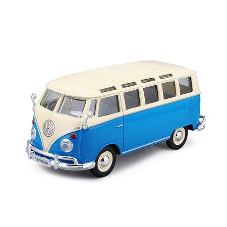 Машина MAISTO 1:24 Volkswagen Van Samba Кремовый/Зеленый 31956