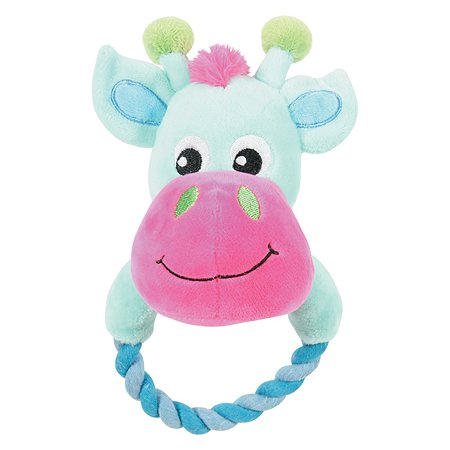 Игрушка для щенков Zolux Корова с кольцом плюшевая большая Бирюзовая