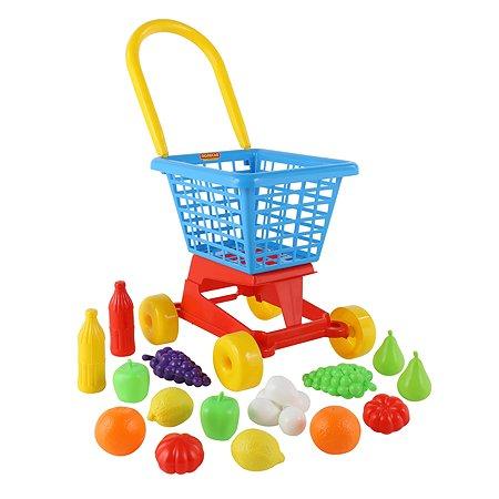 Тележка Полесье Supermarket №1 + набор продуктов (в сеточке)
