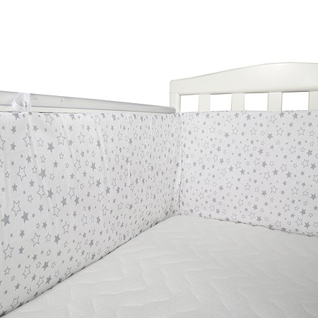 Бортик Babyton для кроватки Серые звезды