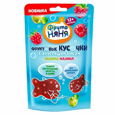 Кусочки фруктовые ФрутоНяня яблоко-малина-хрустящий рис 12г с 12месяцев