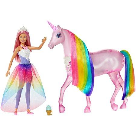 Набор игровой Barbie кукла и Радужный единорог FXT26