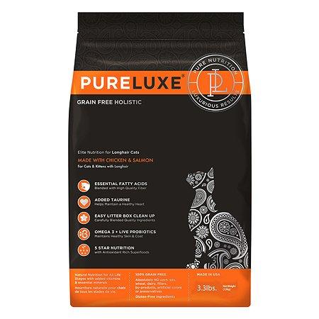 Корм для кошек Pureluxe длинношерстных с курицей и лососем 1.5кг