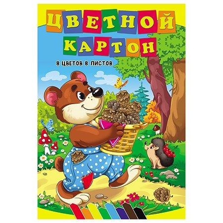 Картон цветной Profit Мишкин урожай А4 8л 08-7492