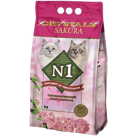 Наполнитель для кошек N1 Crystals с ароматом сакуры силикагелевый 5л 42138
