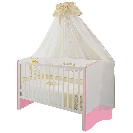 Кроватка Polini kids Simple 140*70 Белый-Роза