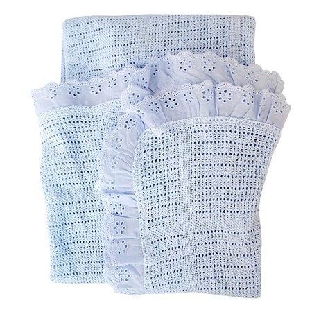 Одеяло вязанное с рюшами Baby Nice Голубое