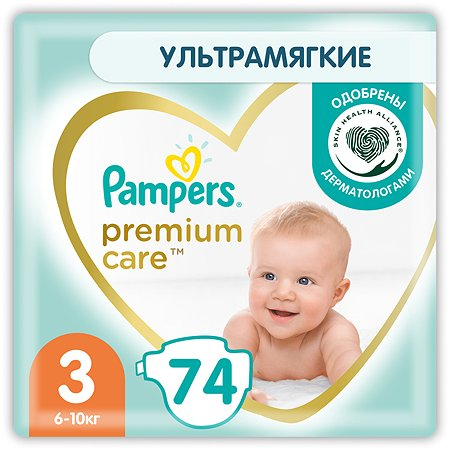 Подгузники Pampers Premium Care 3 6-10кг 74шт