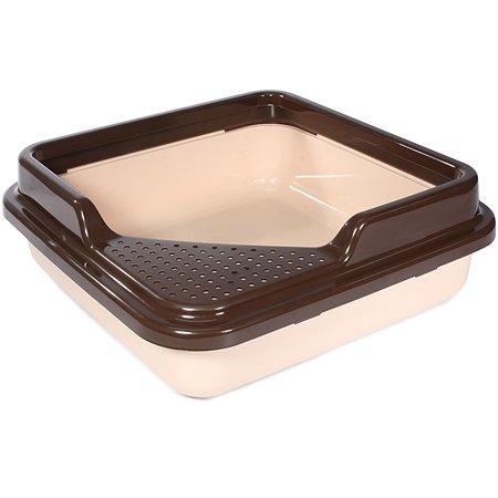 Туалет для кошек Triol P755 квадратный с бортом Капучино