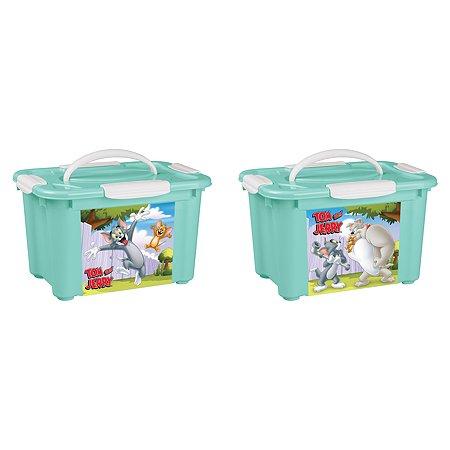 Коробка Пластишка Tom and Jerry универсальная с ручкой и аппликацией Зеленый
