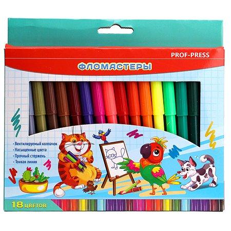 Фломастеры Prof Press Мультгерои 18цветов Ф-7339