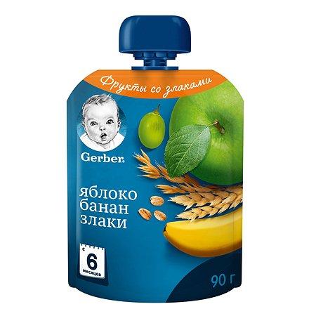 Пюре Gerber яблоко-банан-злаки 90г с 6месяцев