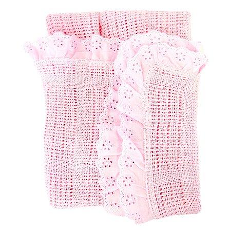 Одеяло вязанное с рюшами Baby Nice Розовое