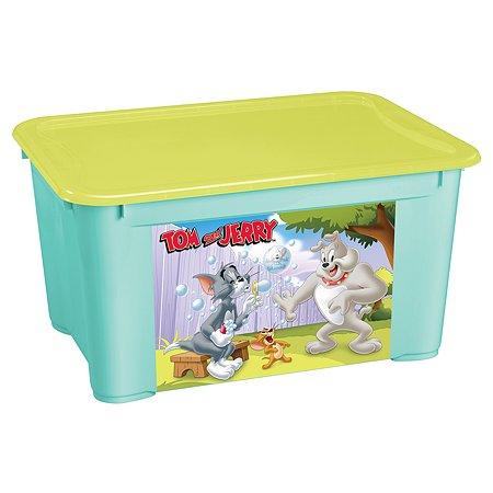 Ящик Пластишка Tom and Jerry L универсальный с аппликацией Бирюзовый