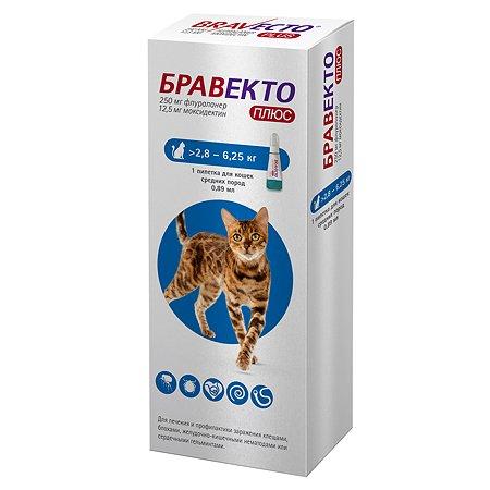 Препарат для кошек MSD Бравекто Плюс инсектоакарицидный 2.8-6.2кг 250мг