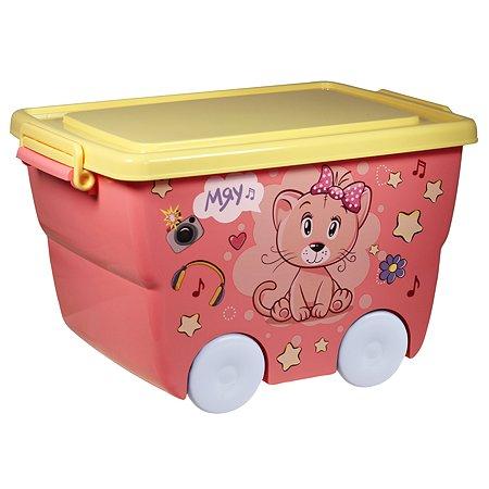 Ящик для игрушек IDEA Кошечка на колесах 23л М 2550
