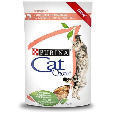 Корм влажный для кошек Cat Chow 85 г с лососем и кабачками с чувствительным пищеварением