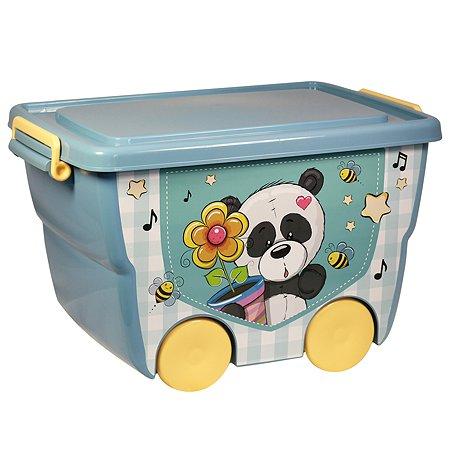 Ящик для игрушек IDEA Панда на колесах 23л М 2550