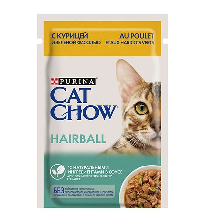 Корм влажный для кошек Cat Chow 85г курицей и зеленой фасолью для профилактики образования комков шерсти