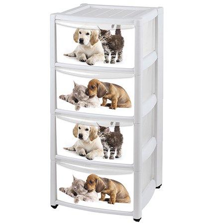 Комод Пластишка «Котенок и щенок» 4 ящика