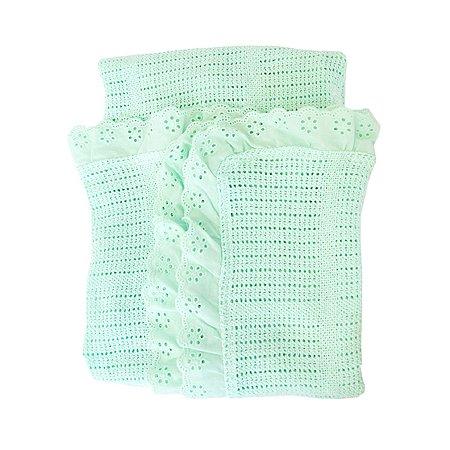 Одеяло вязанное с рюшами Baby Nice Мятное