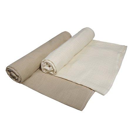 Комплект пеленок BabyEdel Бежевый-Слоновая кость 2шт 1239