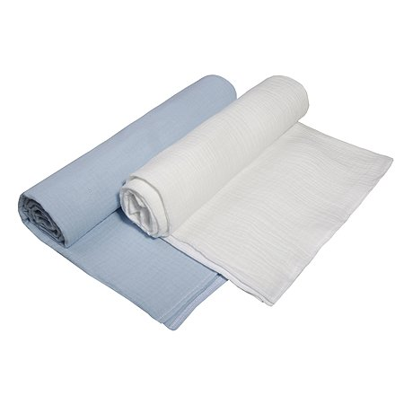 Комплект пеленок BabyEdel Голубой-Молоко 2шт 1239
