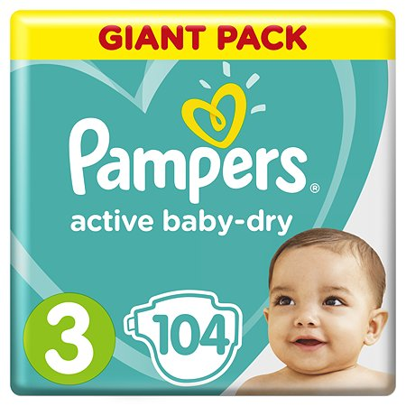 Подгузники Pampers Active Baby-Dry 3 6-10кг 104шт