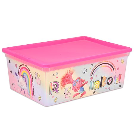 Коробка Полимербыт Trolls 10л Розовая 4371671