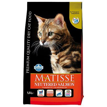 Корм сухой для кошек Farmina Матисс 1.5кг с лососем стерилизованных