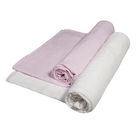 Комплект пеленок BabyEdel Розовый-Молоко 2шт 1239