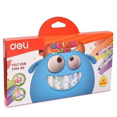 Фломастеры Deli Color Kids толстые 12цветов EC10400