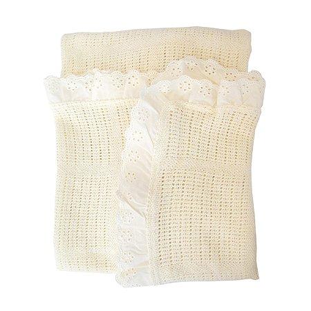 Одеяло вязанное с рюшами Baby Nice Молочное