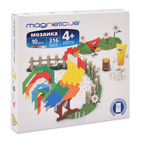 Мозаика магнитная MAGNETICUS Петух 316 элементов 10 цветов MM-015