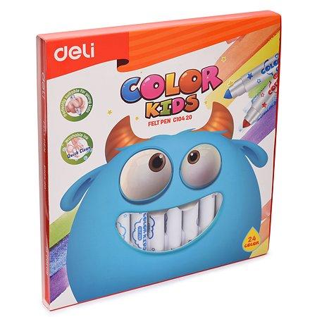 Фломастеры Deli Color Kids толстые 24цвета EC10420
