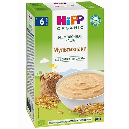 Каша Hipp безмолочная зерновая мультизлак 200г с 6месяцев