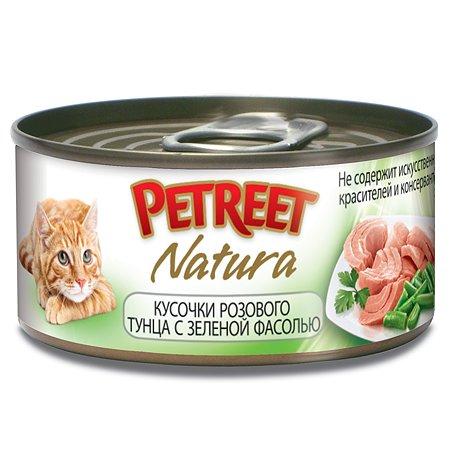 Корм влажный для кошек Petreet 70г кусочки розового тунца с зеленой фасолью консервированный