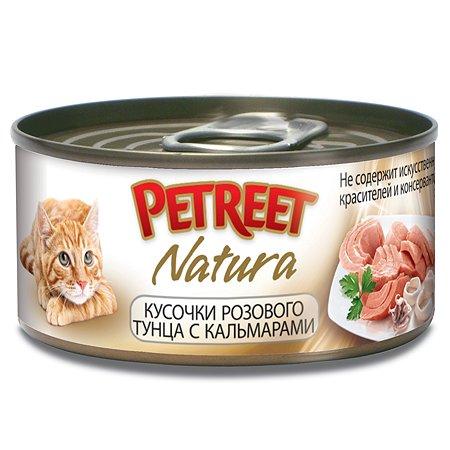 Корм влажный для кошек Petreet 70г кусочки розового тунца с кальмарами консервированный