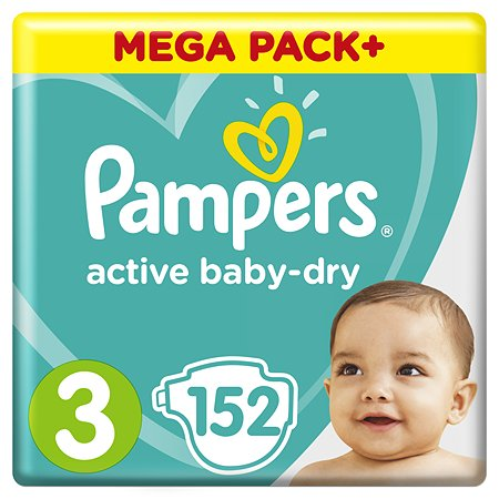 Подгузники Pampers Active Baby-Dry 3 6-10кг 152шт